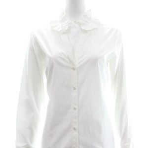 VINEYARD VINES V-NECK BUTTON UP BLOUSE WITH RUFFLE